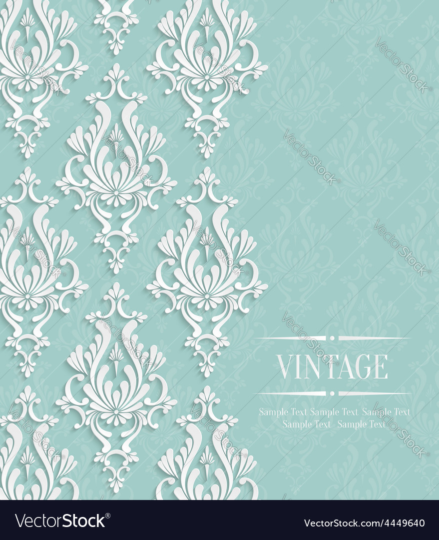 Green vintage invitation card with floral vector | Price: 1 Credit (USD $1)