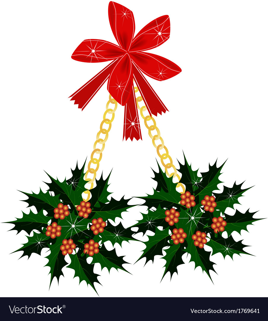 A beautiful christmas holly with a red bow vector | Price: 1 Credit (USD $1)