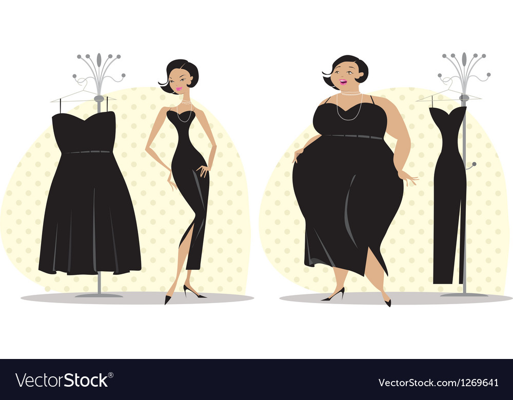 Dieting lady fitting a dress vector | Price: 3 Credit (USD $3)