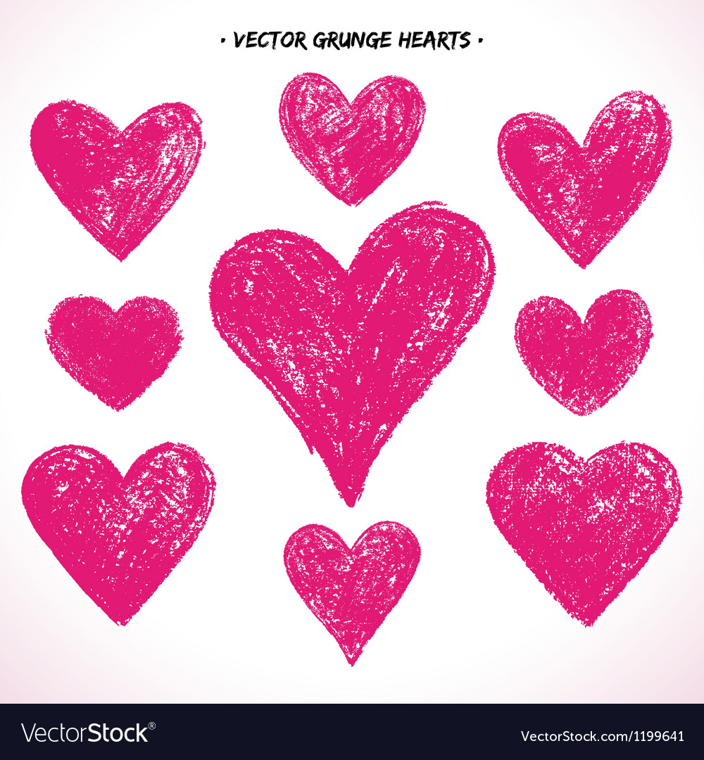 Grunge hearts set vector | Price: 1 Credit (USD $1)