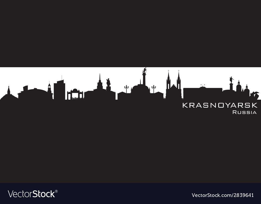 Krasnoyarsk russia city skyline detailed silhouett vector | Price: 1 Credit (USD $1)