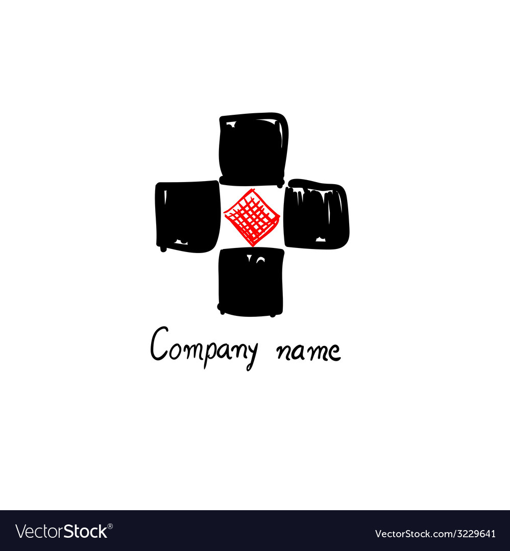 Logo black and red for company name vector | Price: 1 Credit (USD $1)