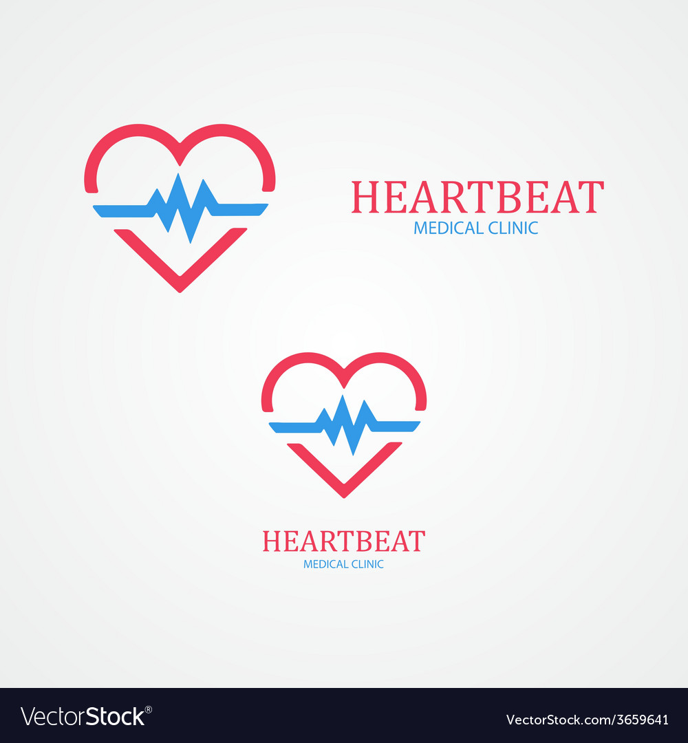 Logo combination of a heart and pulse vector