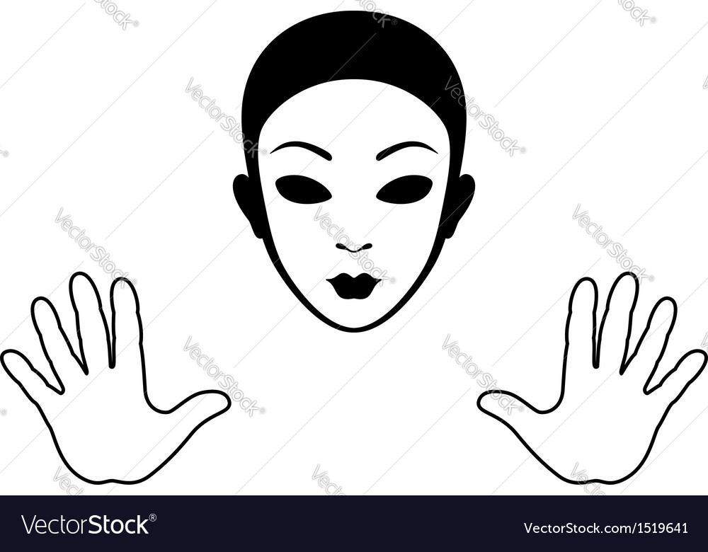 Mime mask and hands silhouette vector | Price: 1 Credit (USD $1)