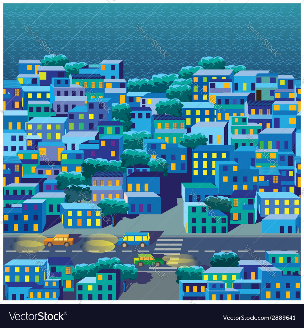 Old district at night vector | Price: 1 Credit (USD $1)