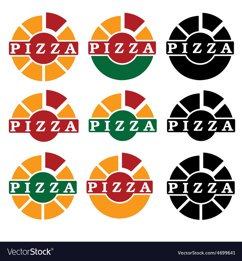 Pizza set design template vector | Price: 1 Credit (USD $1)