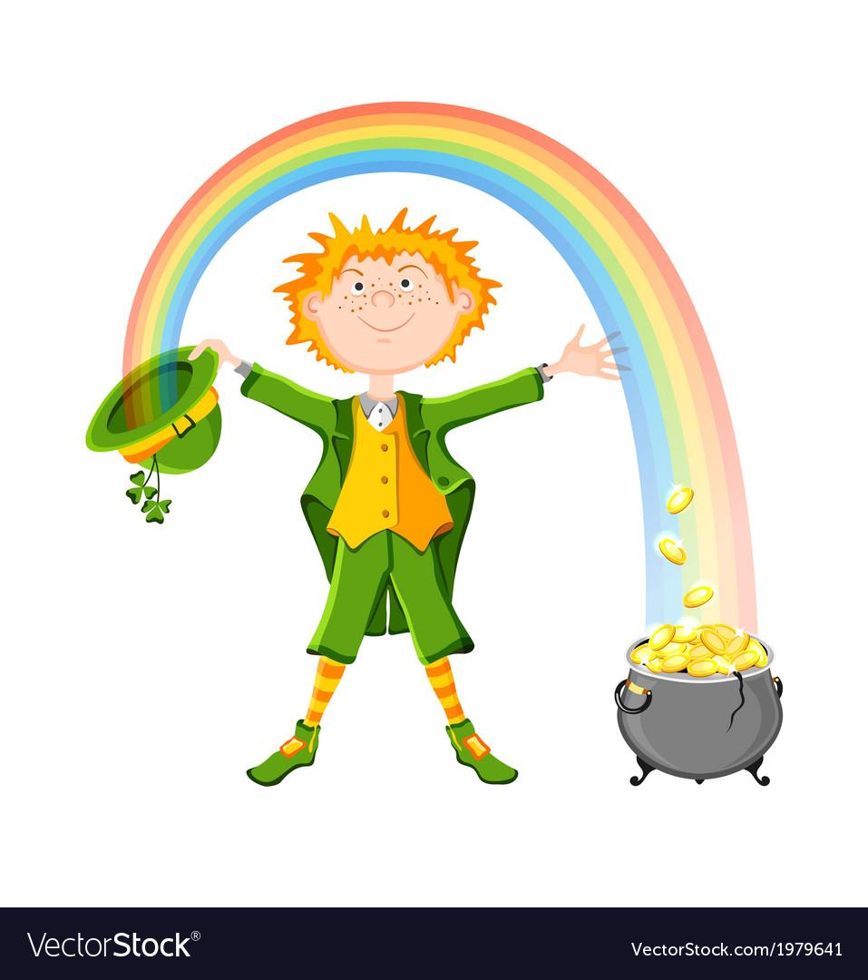 Saint patricks day leprechaun with pot of gold vector   Price: 1 Credit (USD $1)