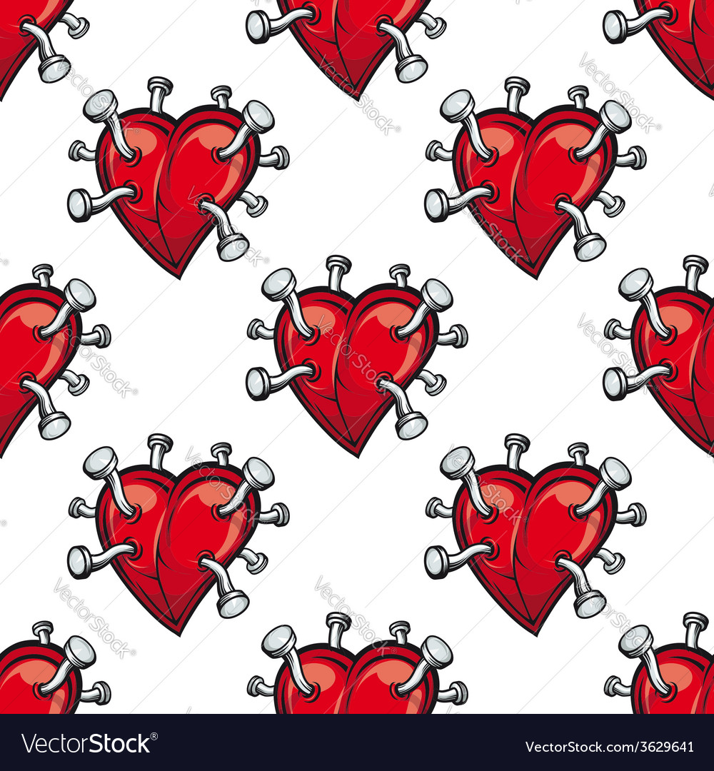 Seamless pattern with hearts and hammered nails vector | Price: 1 Credit (USD $1)