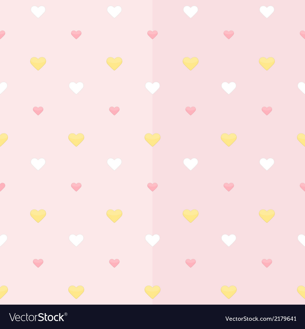 Seamless pattern with white yellow and pink hearts vector | Price: 1 Credit (USD $1)