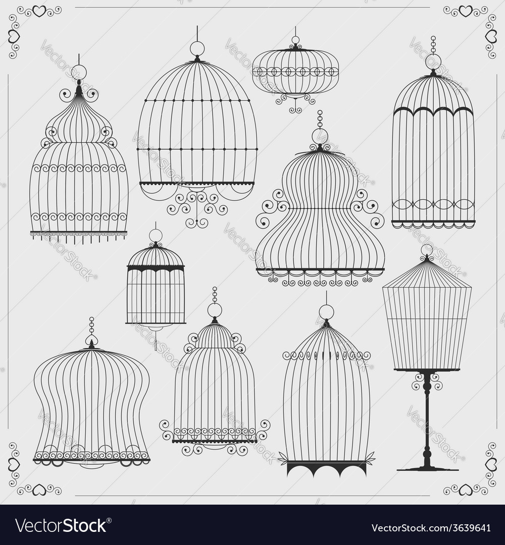 Set of silhouettes of birdcages vector | Price: 1 Credit (USD $1)