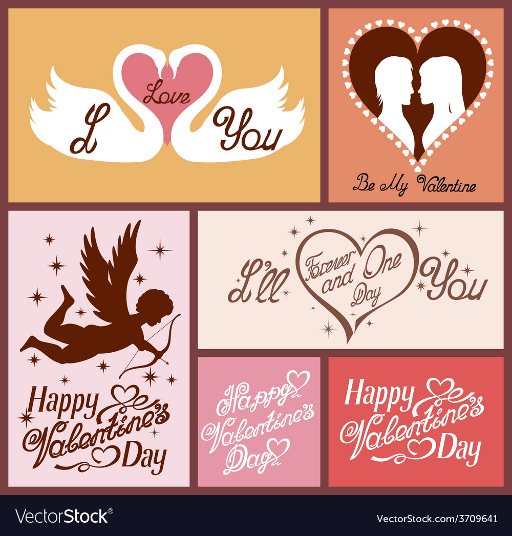 Set of valentines cards vector | Price: 1 Credit (USD $1)