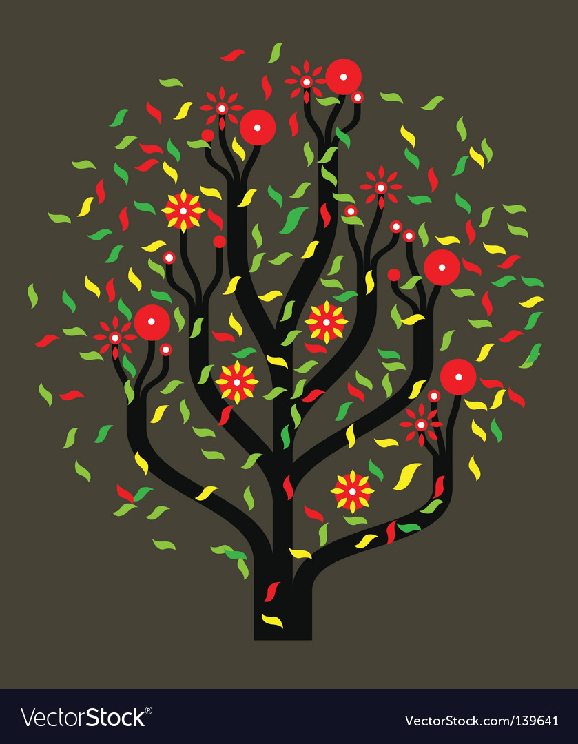 Tree with colour leaves vector | Price: 1 Credit (USD $1)