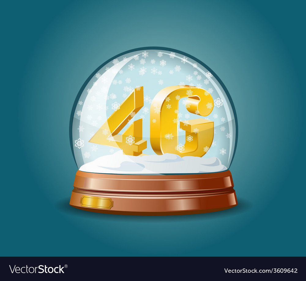 4g mobile communications standard in snow globe vector | Price: 1 Credit (USD $1)