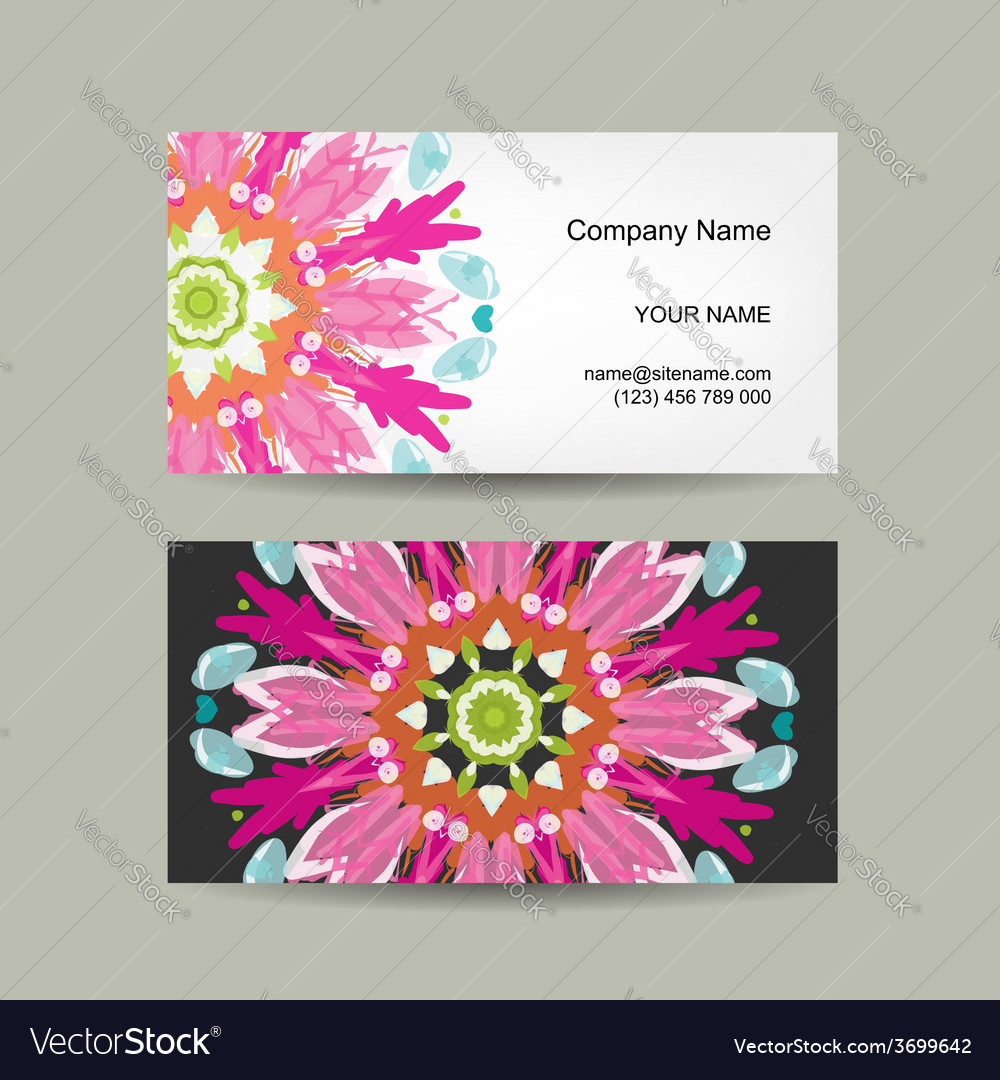 Business card design ornate background vector | Price: 1 Credit (USD $1)