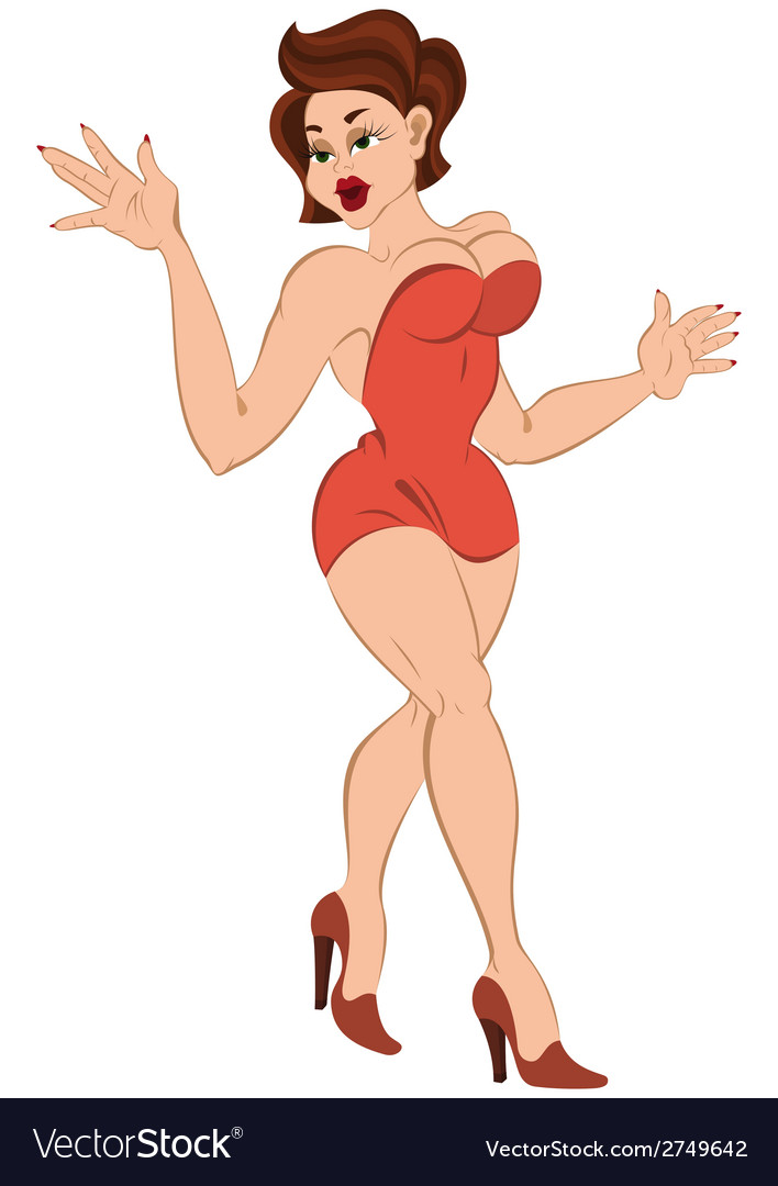 Cartoon girl in mini red dress walking vector | Price: 1 Credit (USD $1)