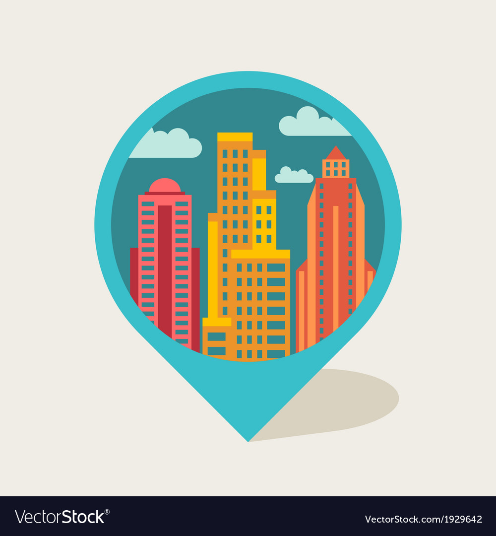 Cityscape navigation marker with buildings vector | Price: 1 Credit (USD $1)