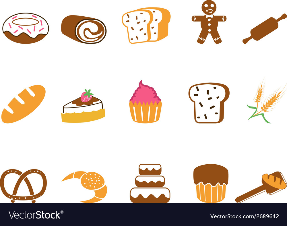 Color bakery icons set vector | Price: 1 Credit (USD $1)