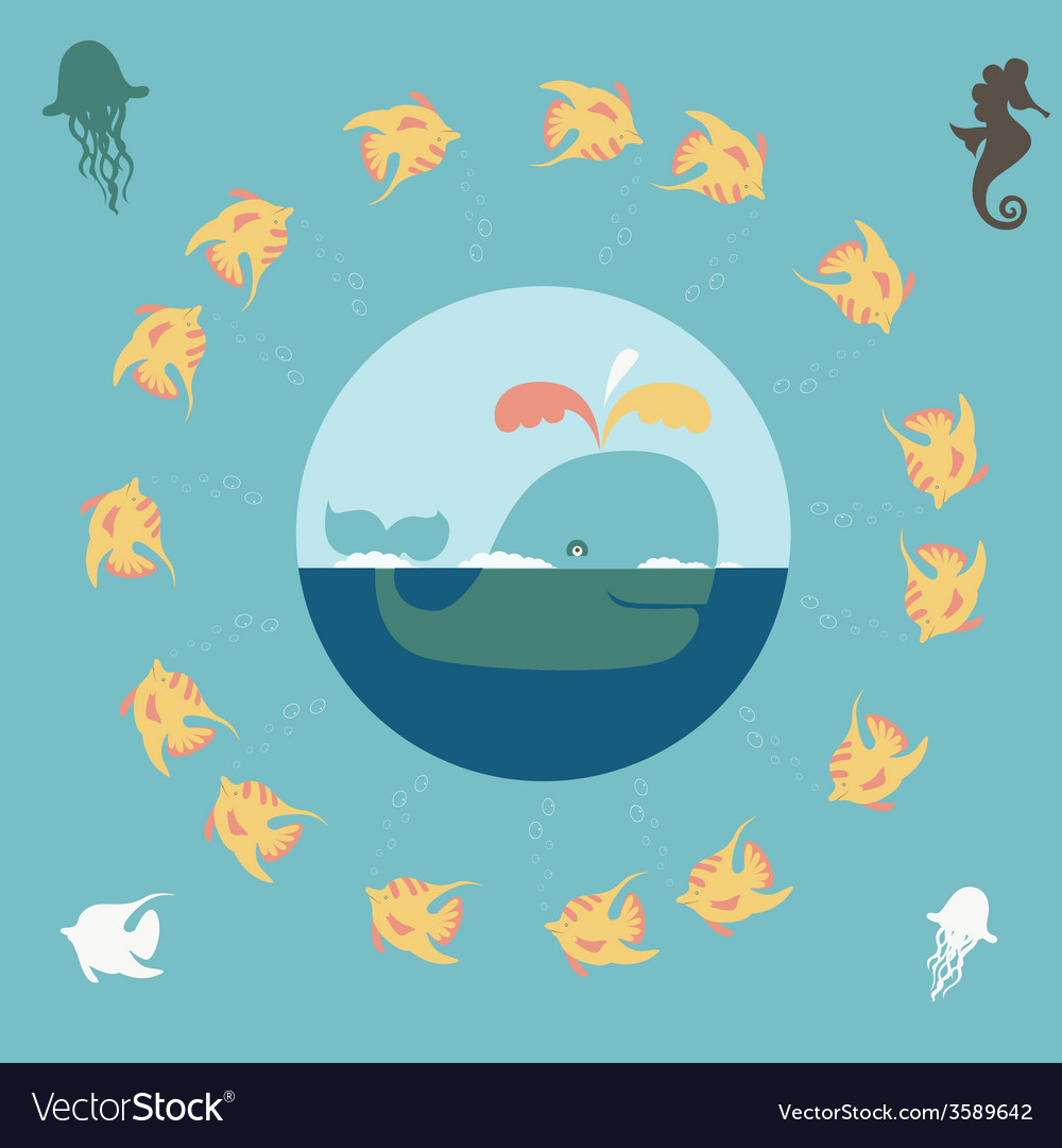 Design with sea chracters vector | Price: 1 Credit (USD $1)