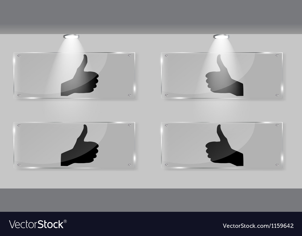 Hand signal on white frames in art gallery vector | Price: 1 Credit (USD $1)