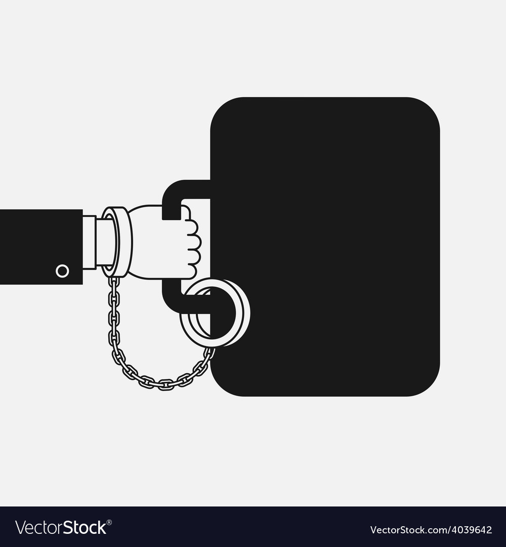 Hand with handcuff and a suitcase vector | Price: 1 Credit (USD $1)