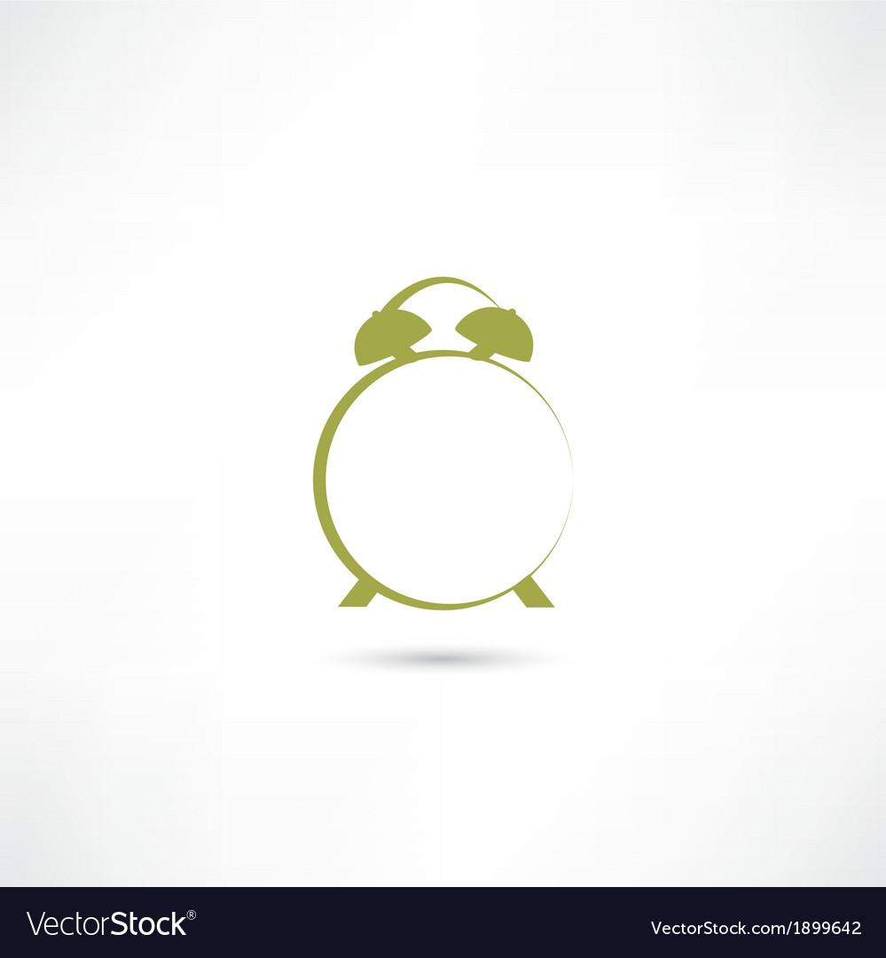 Line green alarm clock vector | Price: 1 Credit (USD $1)