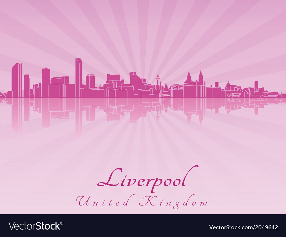 Liverpool skyline in purple radiant orchid vector | Price: 1 Credit (USD $1)