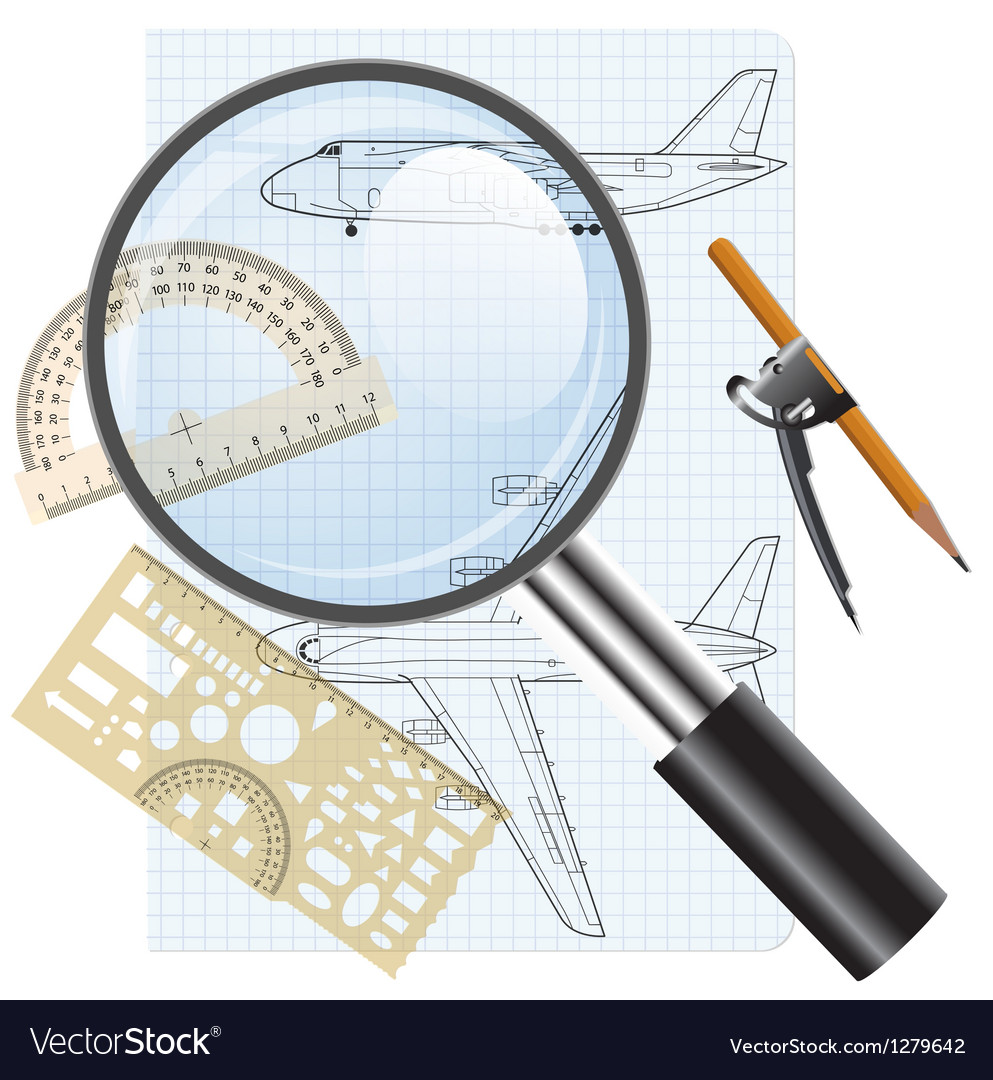 Magnifying glass icon drawing aircraft vector | Price: 3 Credit (USD $3)