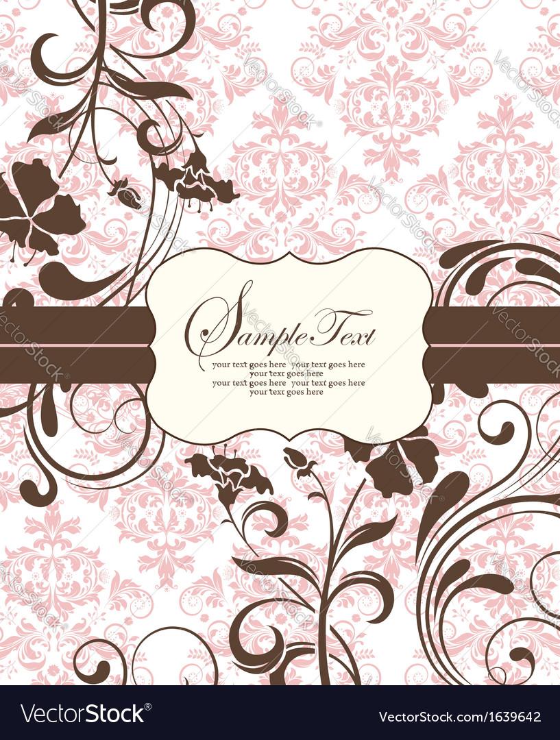 Pink vintage damask invitation card vector | Price: 1 Credit (USD $1)