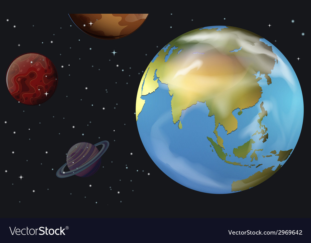 Planetary bodies in the sky vector | Price: 1 Credit (USD $1)