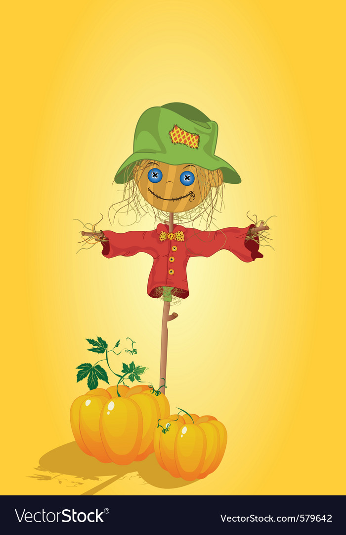 Scarecrow with pumpkins vector | Price: 1 Credit (USD $1)