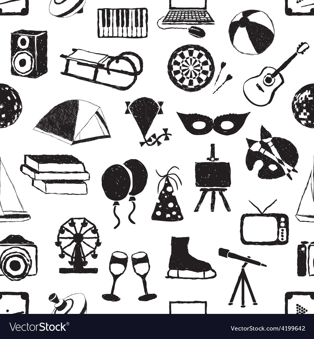 Seamless doodle entertainment pattern vector   Price: 1 Credit (USD $1)