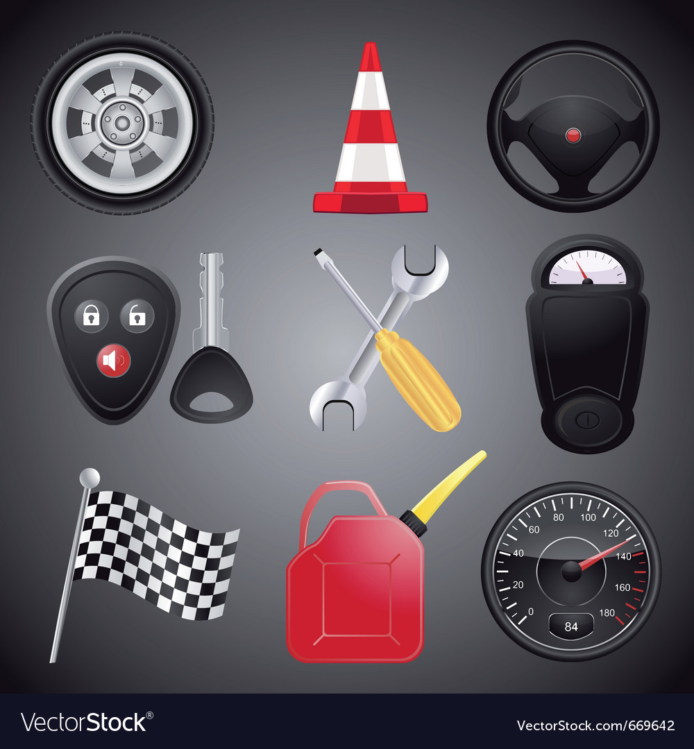 Set of automobile objects vector | Price: 1 Credit (USD $1)