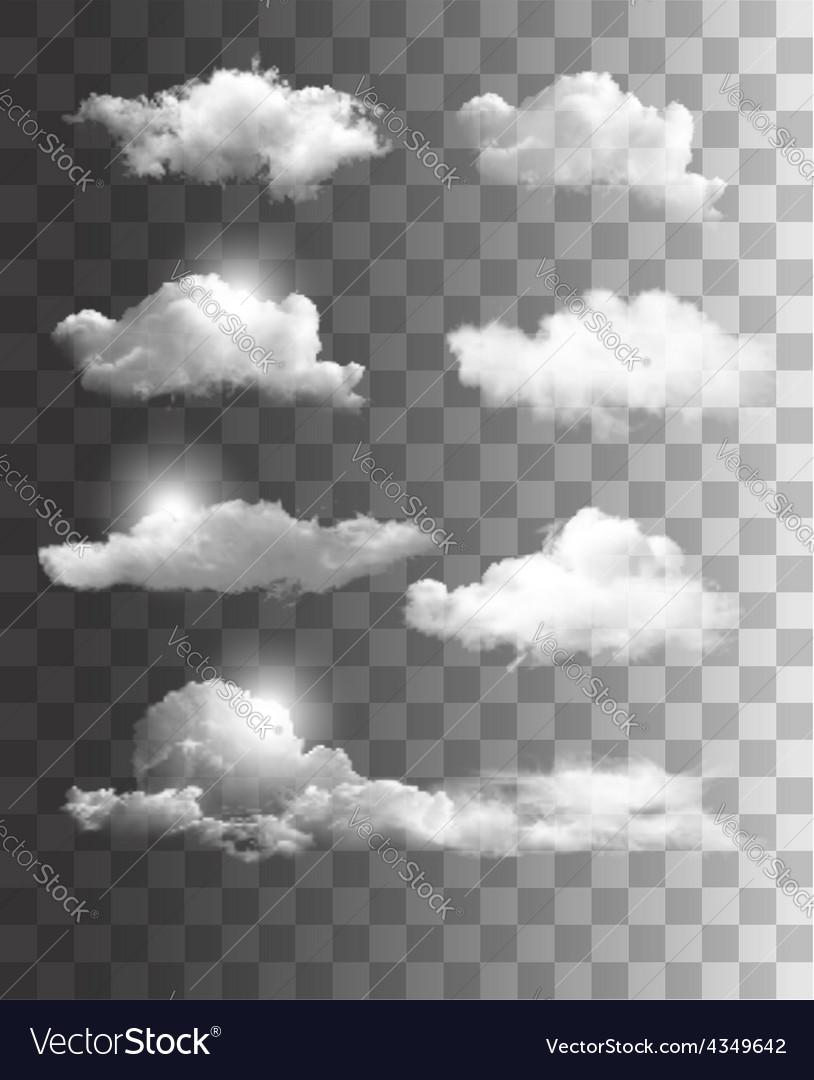 Set of transparent clouds vector