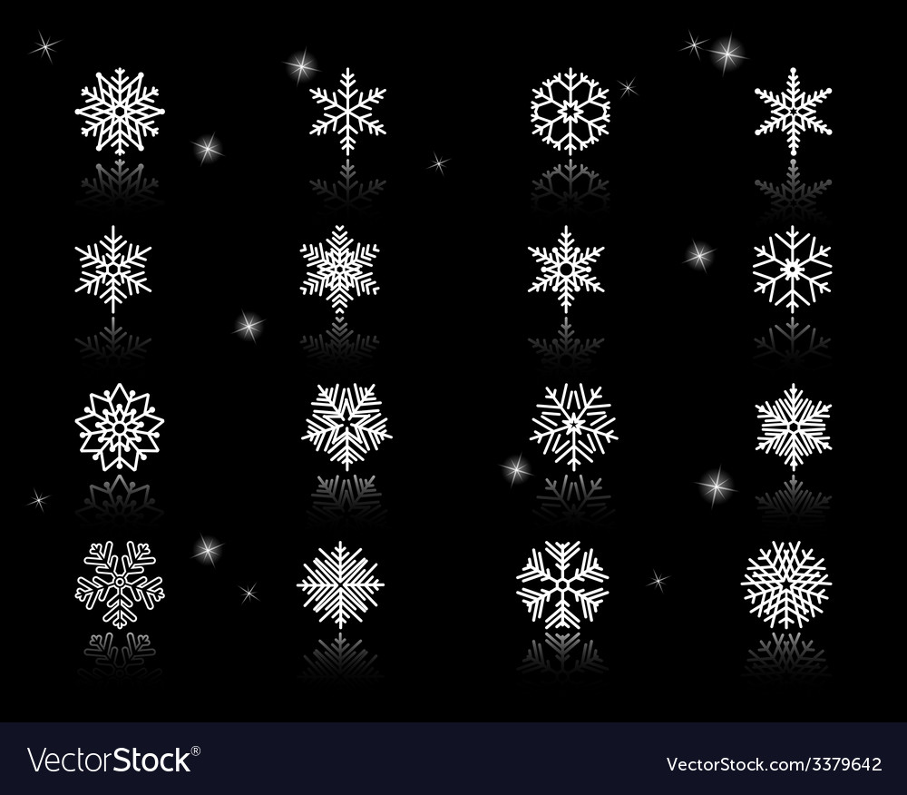 Set of white snowflakes icons vector | Price: 1 Credit (USD $1)