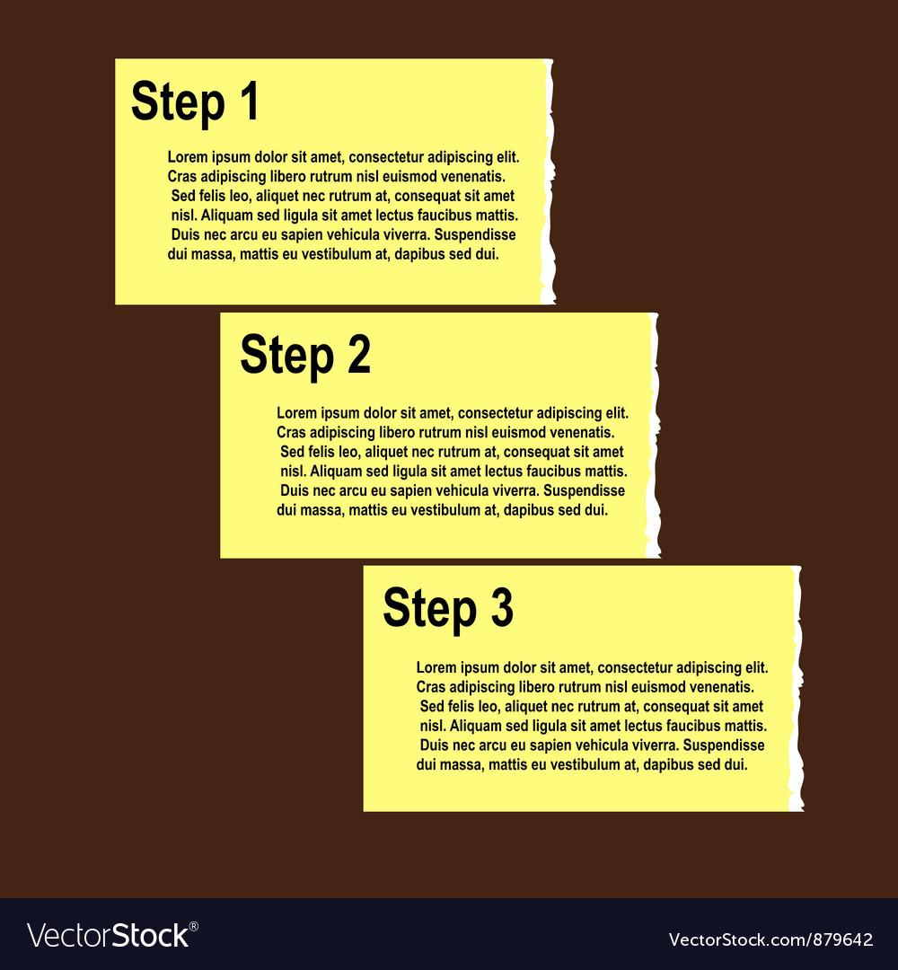 Torn paper progress option or steps background vector | Price: 1 Credit (USD $1)
