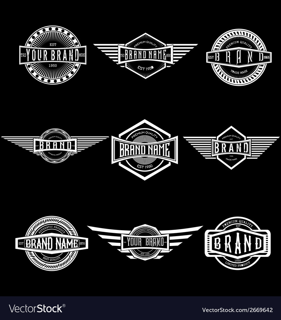 Vintage badge labels vector | Price: 1 Credit (USD $1)