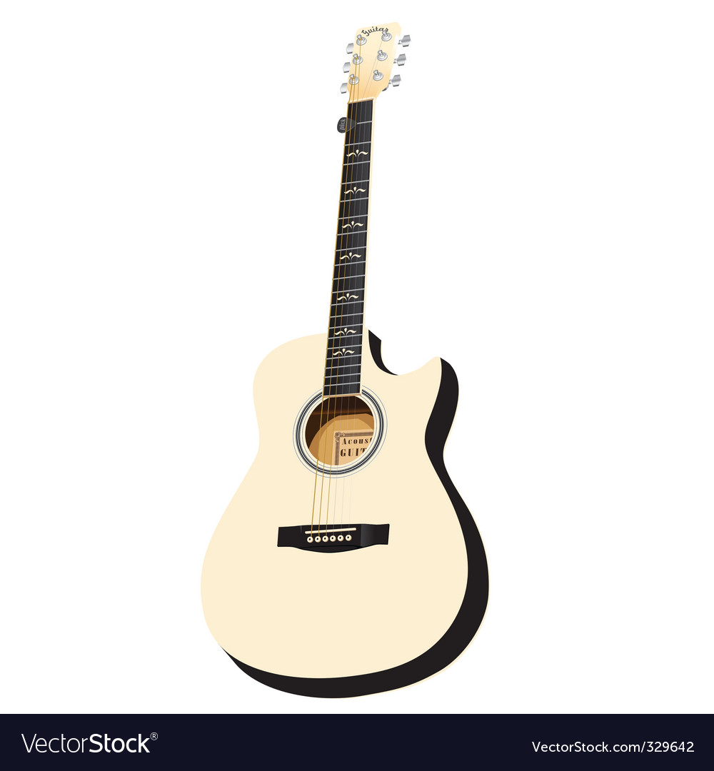 white acoustic cutaway vector | Price: 1 Credit (USD $1)