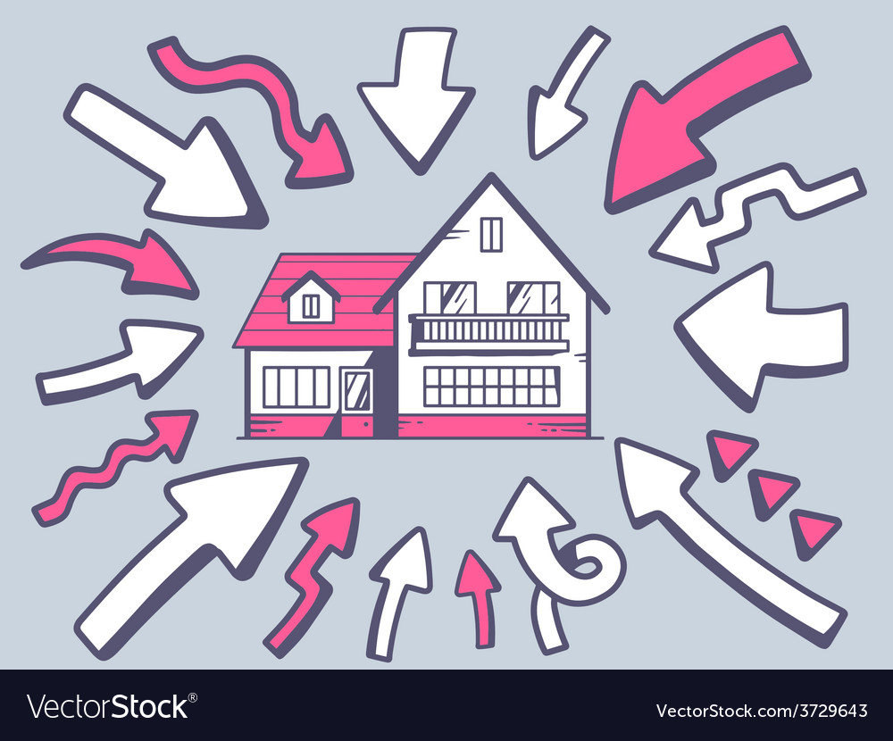 Arrows point to icon of home on gray back vector | Price: 1 Credit (USD $1)