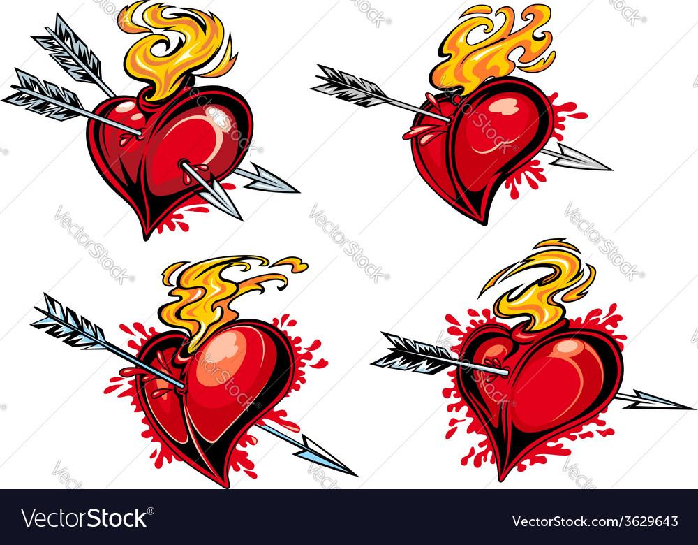 Bleeding hearts with arrows vector | Price: 1 Credit (USD $1)
