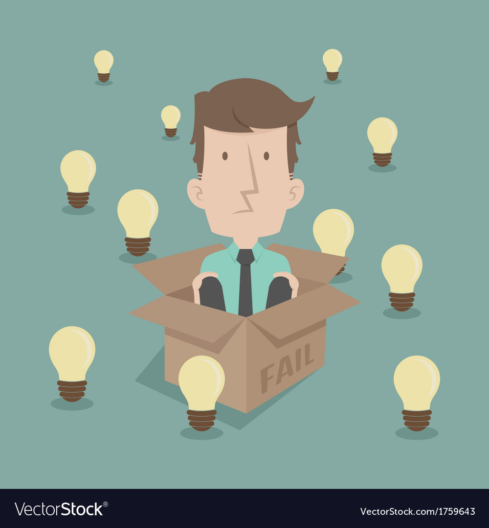 Businessman thinking inside the box vector | Price: 1 Credit (USD $1)