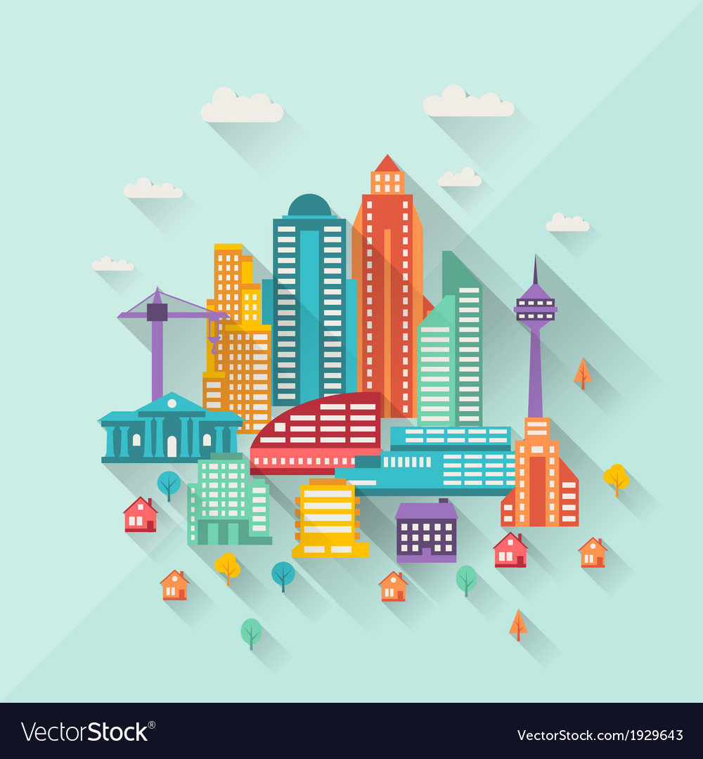 Cityscape with buildings in flat design style vector | Price: 1 Credit (USD $1)