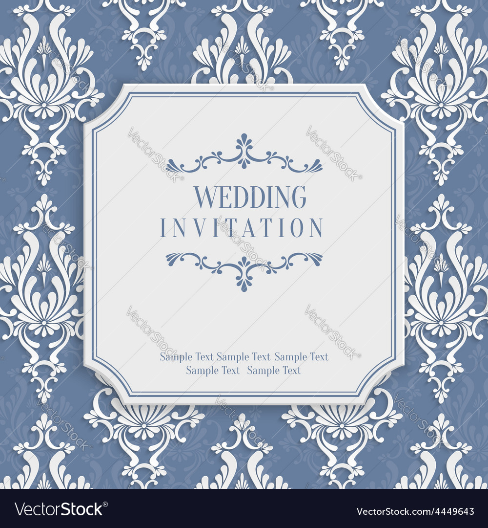 Grey 3d vintage invitation card with floral vector | Price: 1 Credit (USD $1)