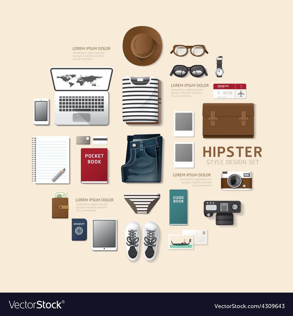 Infographic fashion design flat lay idea hipster vector | Price: 1 Credit (USD $1)