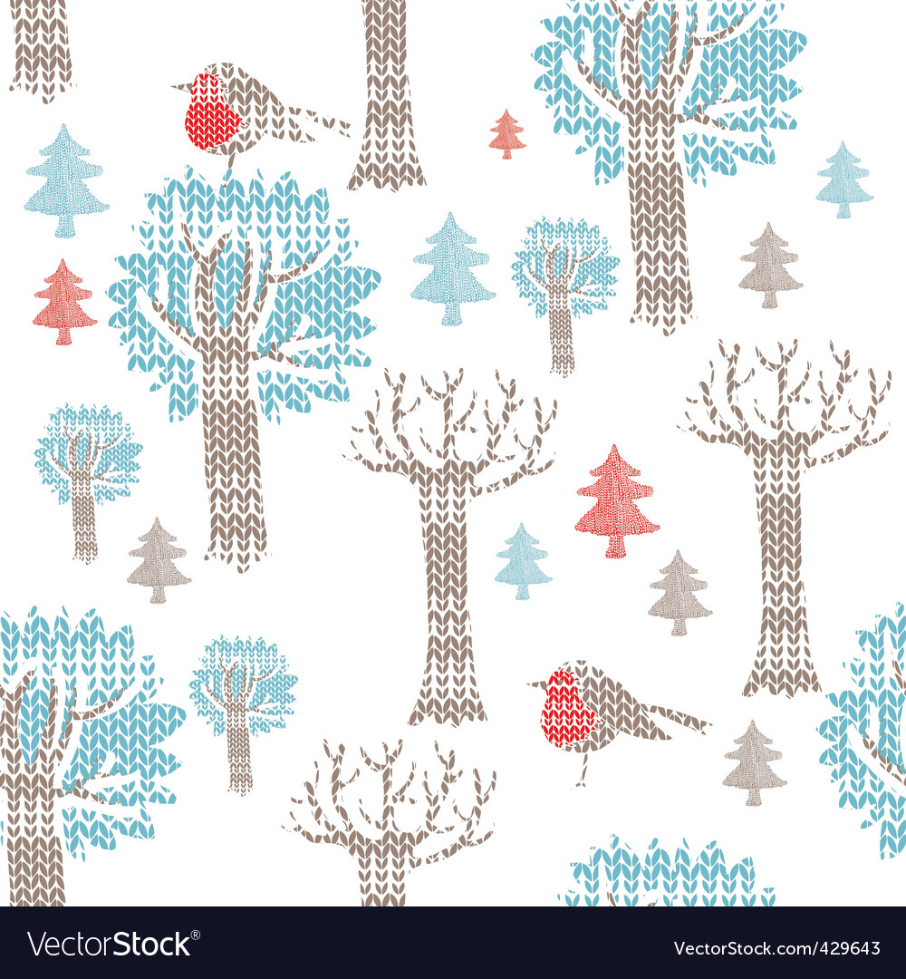 Knitted christmas icons vector