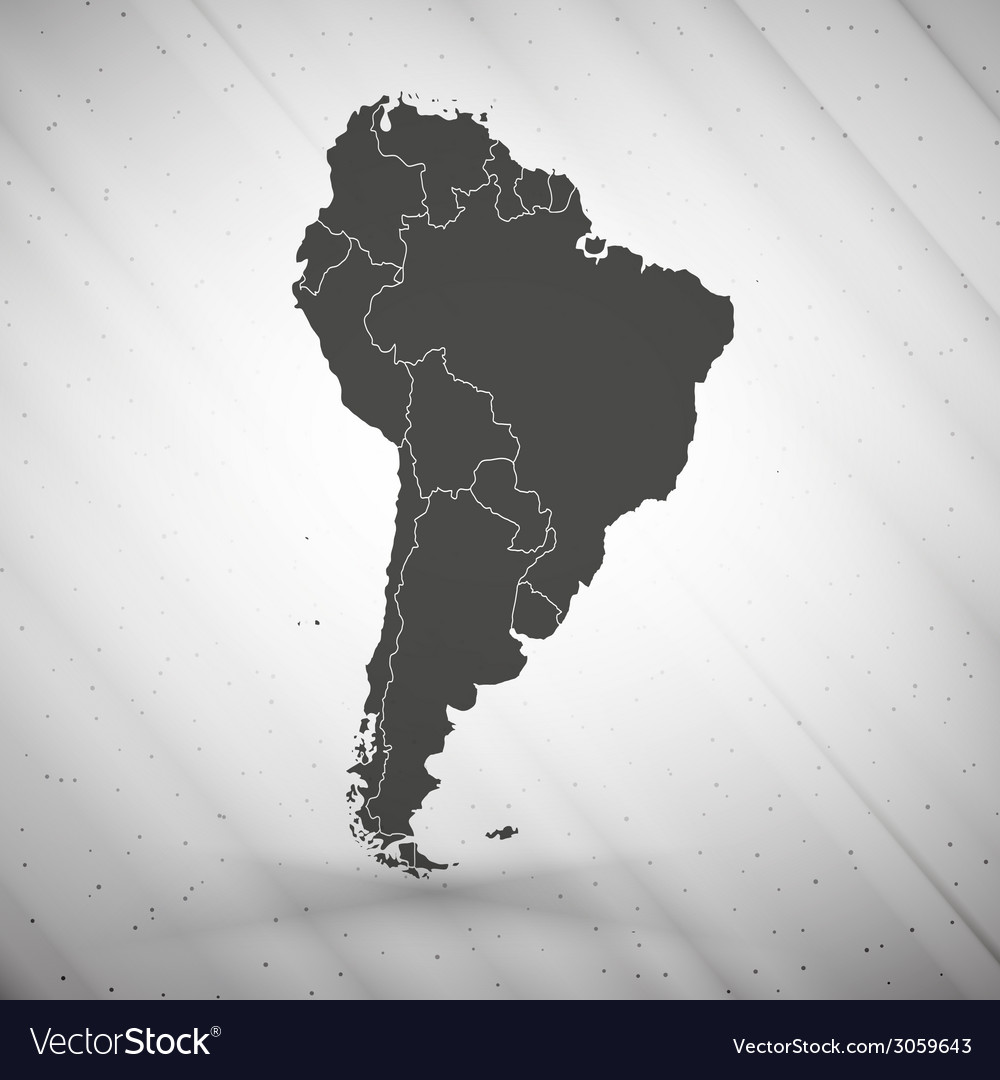 South america map on gray background grunge vector | Price: 1 Credit (USD $1)