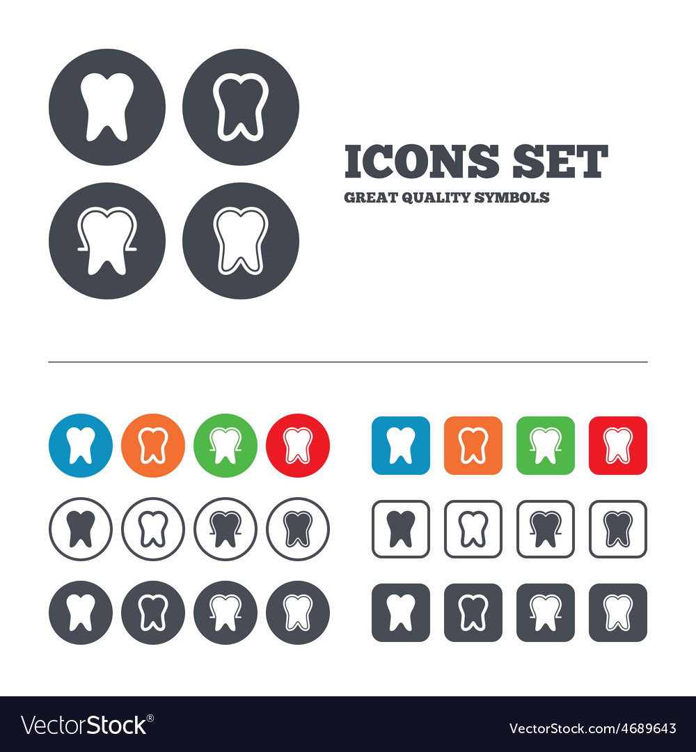 Tooth enamel protection icons dental care signs vector | Price: 1 Credit (USD $1)