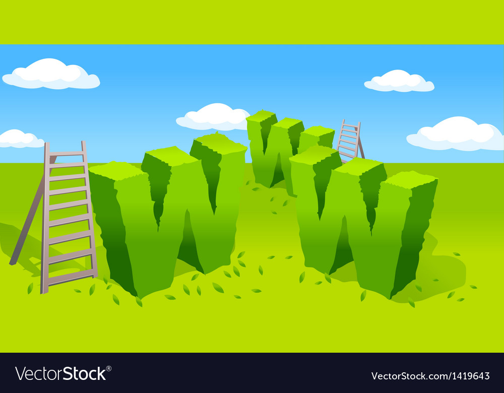 Www symbol and ladder on green landscape vector | Price: 1 Credit (USD $1)