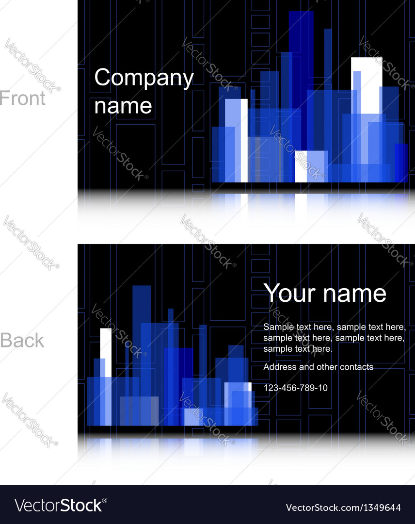 Black and blue business card vector | Price: 1 Credit (USD $1)