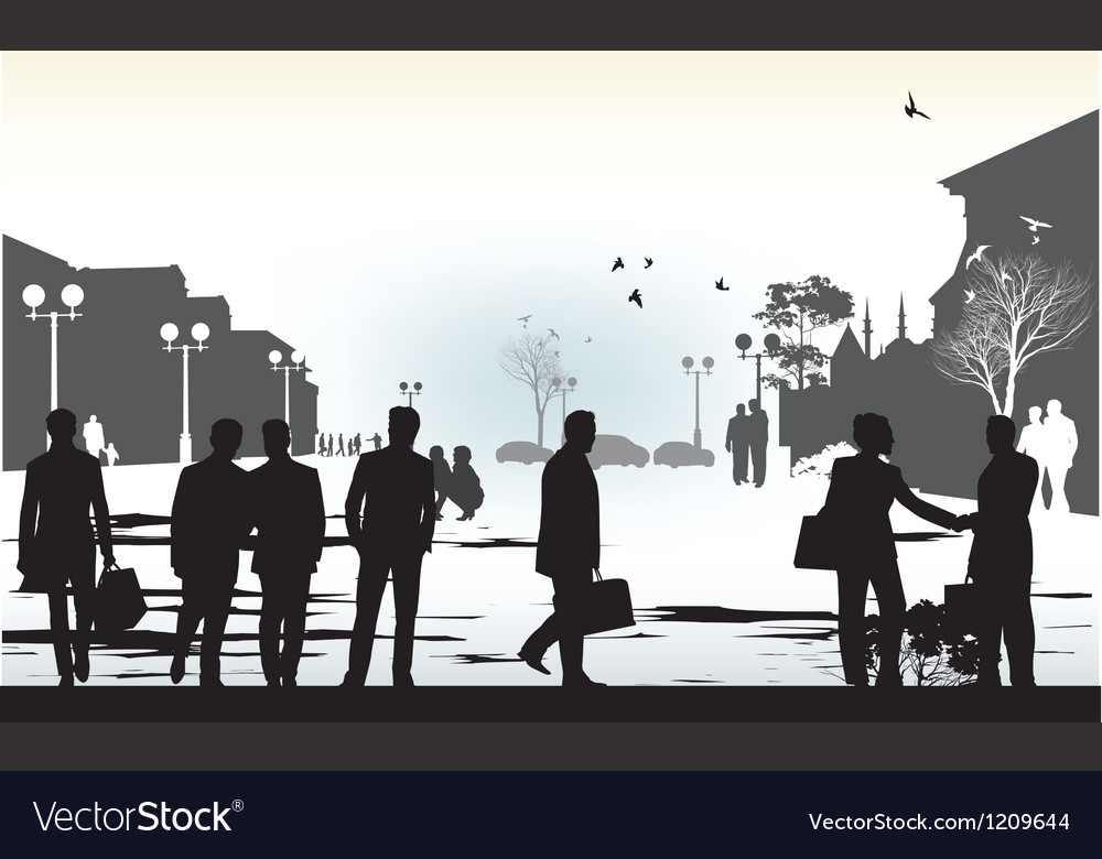 Business people in city vector | Price: 1 Credit (USD $1)