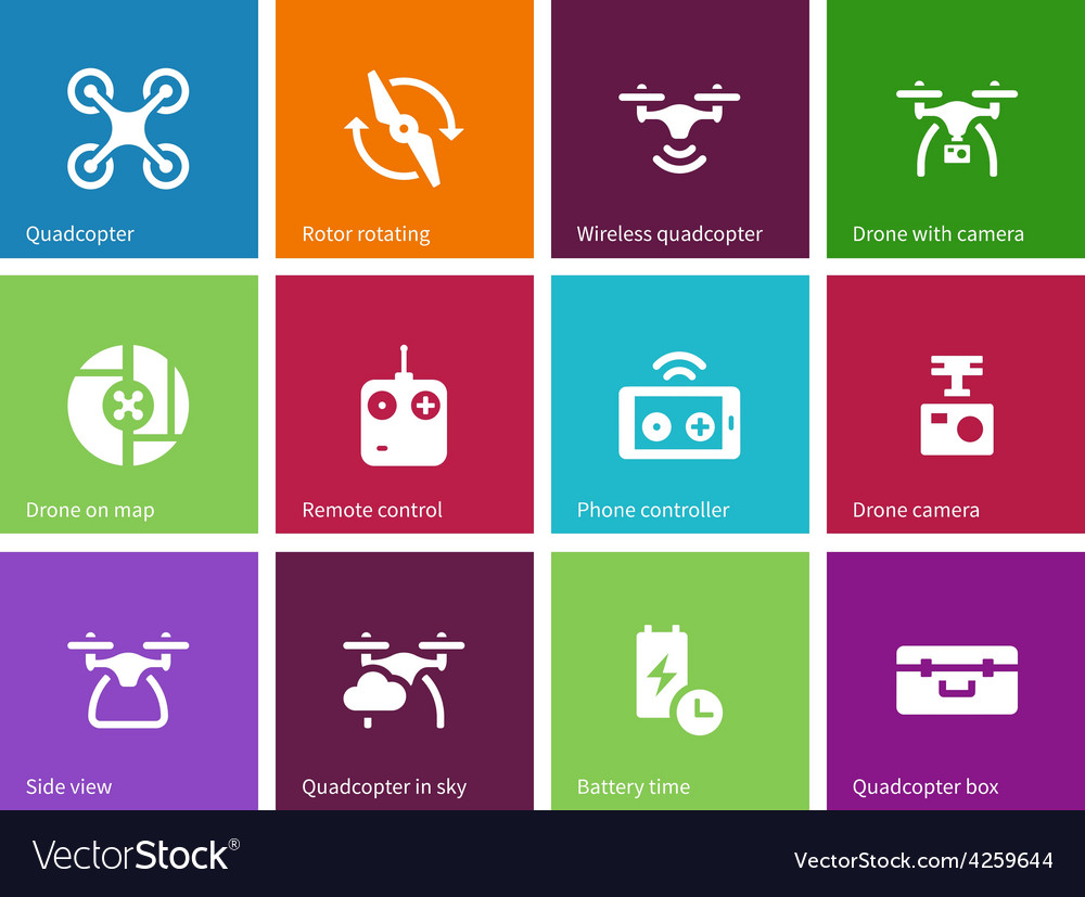 Components and equipment for quadrocopter icons on vector   Price: 1 Credit (USD $1)